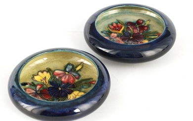 TWO MOORCROFT SHALLOW SMALL DISHES WITH CURVED RIM