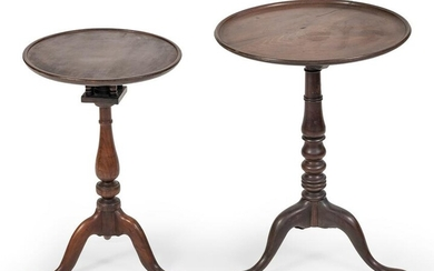 TWO QUEEN ANNE-STYLE DISH-TOP TABLES Late 19th Century