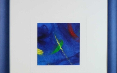 Tom Bushnell (British Contemporary) Pair of Abstract Blue Compositions oil on paper