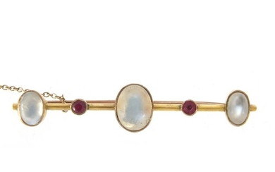 Unmarked gold cabochon moonstone and ruby bar brooch, 5.5cm ...
