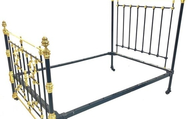 Victorian brass and iron double bedstead, with Vono cross...