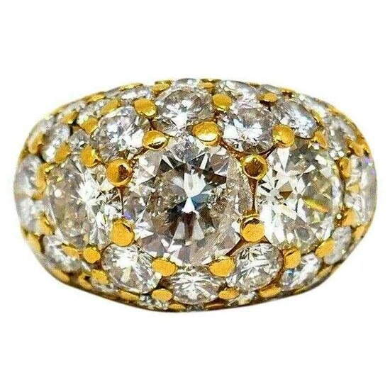 Vintage 14k Yellow Gold Diamond Cocktail Dome Ring