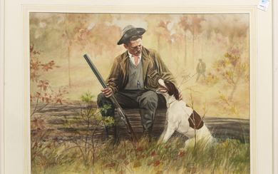 Watercolor, Hunting with the Dogs