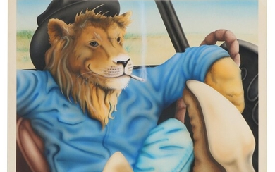 Watercolor Painting of Anthropomorphic Lion at Steering Wheel, 1986