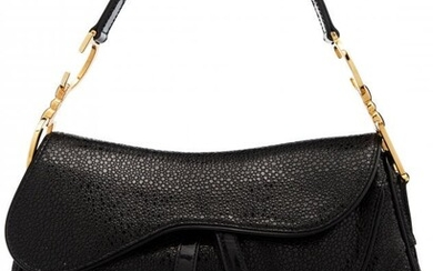 Christian Dior Black Pebbled Leather Double Sadd