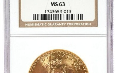 1927 $20 US Double Eagle Gold Coin NGC MS 63