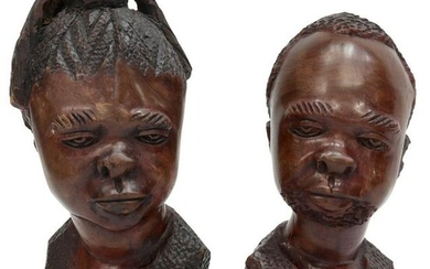 (2) LARGE AFRICAN CARVED WOOD BUSTS, MAN & WOMAN