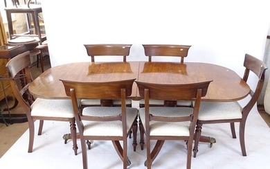 A 19th century mahogany D-end dining table, with 1 spare lea...