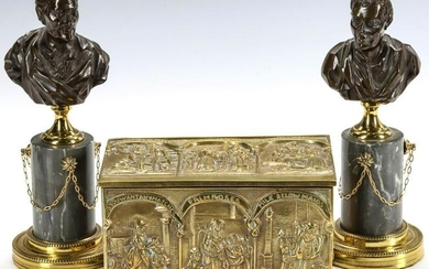 A BRASS 'CRIES OF LONDON' CASKET PLUS CABINET BUST PAIR