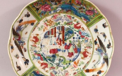A CHINESE FAMILLE ROSE CANTON STYLE PORCELAIN DISH, decorate...