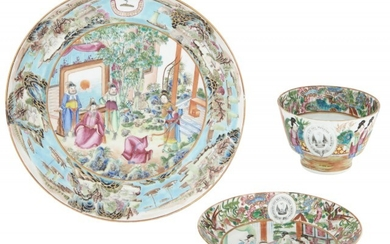 A Chinese Export Famille Rose Porcelain Crested Plate