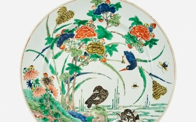 A Chinese famille verte-decorated porcelain dish
