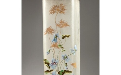 A FRENCH OPAQUE SQUARE SHAPED GLASS VASE painted with flower...