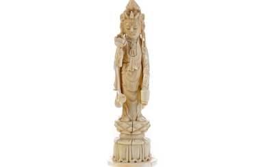 A LATE 19TH CENTURY CHINESE IVORY FIGURE OF GUANYIN