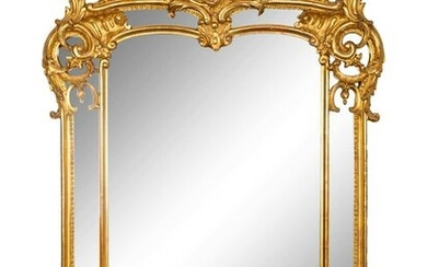 A Louis XV Style Giltwood Mirror Height 57 x width 38
