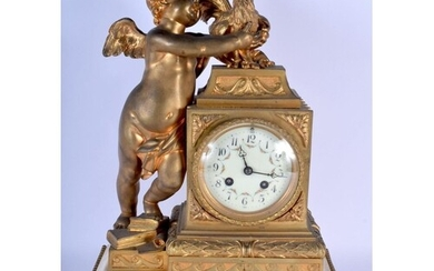 A MID 19TH CENTURY FRENCH GILT BRONZE AND MARBLE MANTEL CLOC...