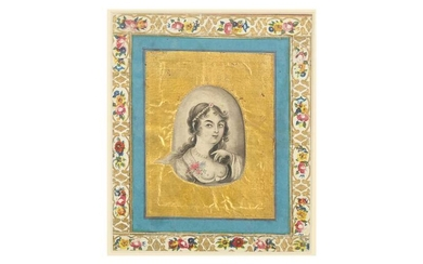 A MINIATURE GRISAILLE PORTRAIT OF A QAJAR BEAUTY Qajar Iran, early 19th century