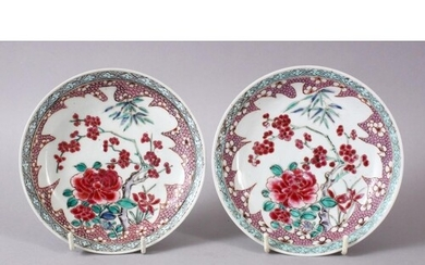 A PAIR OF 19TH CENTURY CHINESE FAMILLE ROSE DISHES, each dec...