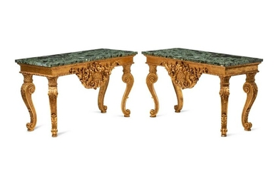 A Pair of George II Style Giltwood Marble-Top Console