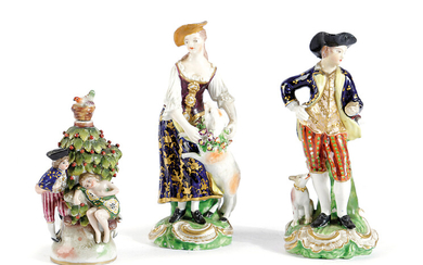 A SMALL PAIR OF BLOOR DERBY PORCELAIN FIGURES