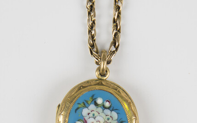 A Victorian enamelled oval pendant locket, decorated with a floral spray, fitted to a gold ropetwist