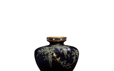 A cloisonné enamel vase with sparrows and wisteria   Attributed to Hayashi Kodenji (1831-1915)   Meiji period, late 19th century