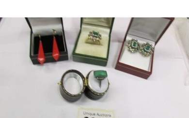 A green stone art deco ring in silver together with a pair o...