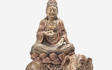 A large carved and polychromed wood figure of the Bodhisattva Puxian 木雕普贤菩萨坐像 Ming Dynasty or later 明或以后