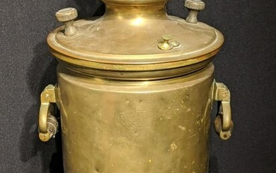 A late 19th century Russian brass samovar, stamped to