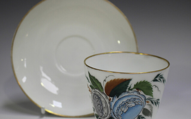 A matched Russian State Porcelain Factory, Petersburg, porcelain cup and saucer, late 19th/early 20t