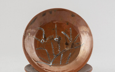 A pair of Japanese ceramic brown glazed dishes, 20th century.