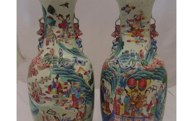 A pair of early 20th century Chinese baluster shaped vases d...
