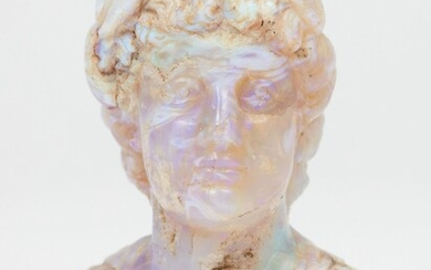 A rare miniature carved opal bust of a Roman emperor