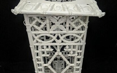 A white painted cast iron umbrella stand, chinoiserie