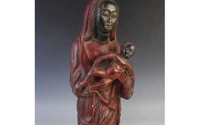An African wooden fertility carving, 20th century, modelled ...