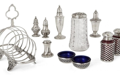 An assortment of silver cruets comprising: two miniature baluster-shaped casters, one London, c.1884, maker's mark rubbed, the other Birmingham, c.1897, 8.1cm high; a pair of Continental silver mounted pink glass peppers, the caps perforated with...