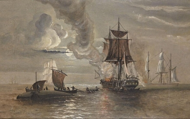 Anonymous, English school, South Sea Whaler's Bailing Blubber H.M.S Tinker 1874, oil on board, in wood frame, painting 36.6 x 22cm. Provenance: Private Collection Oliver Hoare (1945-2018); acquired Michael German Antiquites Ltd, London