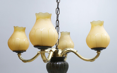 CEILING LAMP, brass, glass, 20th century. Diameter about 64 cm.