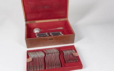 Cased French Empire Pattern Sterling Silver Flatware