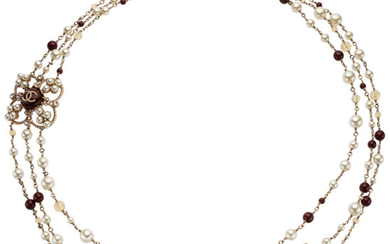 Chanel Burgundy Stone, Pearl, & Crystal Three Strand Necklace...