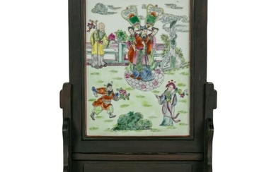 Chinese Porcelain Immortals Table Screen Plaque