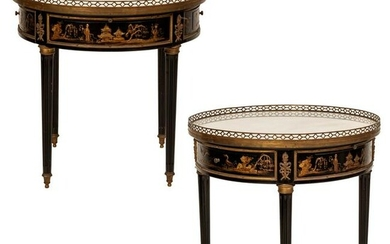 Chinoiserie Pair Marble Top Bouillotte Side Tables
