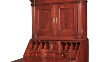 Chippendale Carved Cherrywood Reverse-Serpentine Bonnet-Top Slant-Front Desk-and-Bookcase, Connecticut, circa 1785