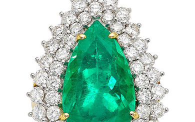 Colombian Emerald, Diamond, Gold Ring Stones: Pear-shaped emerald weighing...