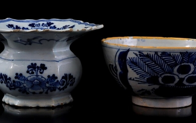 (-), Delft blue and white porcelain spittoon and...