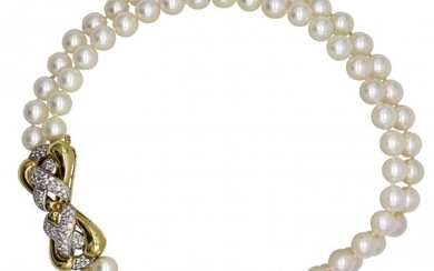 Double Strand Pearl and Diamond Necklace, Emis