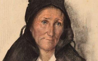 """Emmanuel FOUGERAT (1869-1958) """"A widow of the Isle of Sein"""" charcoal and pastel sbd dated Sept 1924 36x29"""