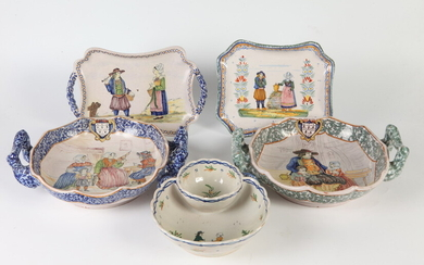FIVE PIECES LATE 19TH-EARLY 20TH CENTURY HENRI QUIMPER FIGURAL DECORATED...