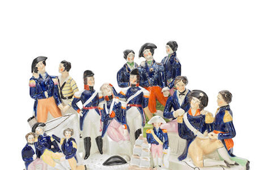 Five Staffordshire groups of the 'Death of Nelson' and a figure of Nelson, mid-19th century