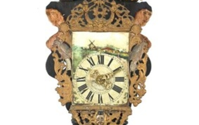 (-), Frisian painted chair clock, early 19th century...